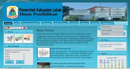 Website Disdik Lebak